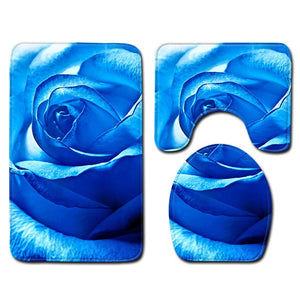 T Rose Bath Mats Valentine's Day 3 Piece Bathroom Set Rug Anti Slip Carpet for Home Decor Toilet Mat 3D Dropship Bathroom Rug