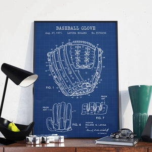 Baseball Patent Print Glove Blueprint Wall Art Canvas Painting Vintage Baseball Gloves Poster Baseball Fan Gifts Man Cave Decor
