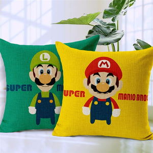 Super Mario Cartoon Vintage Nostalgic Classic Printing Linen Cotton Pillow Case Car Chair Home Throw Pillows Cushion Cover 18''