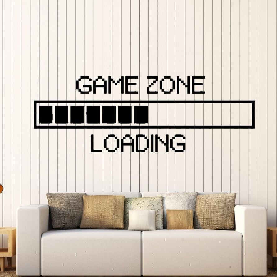 Vinyl Wall Decal Game Zone Loading Wall Sticker Gamer Computer Wall Mural Game Play Room Decoration Game Loading Decal AY1010