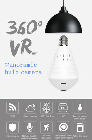 Wifi Panoramic Camera 360 Degree LED Light Wireless Home Security Fisheye Bulb