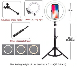 Youtube LED Selfie Three-speed Cold Warm Stepless Lighting Dimmable LED Ring Light Video Lamp With 50/160cm Tripod