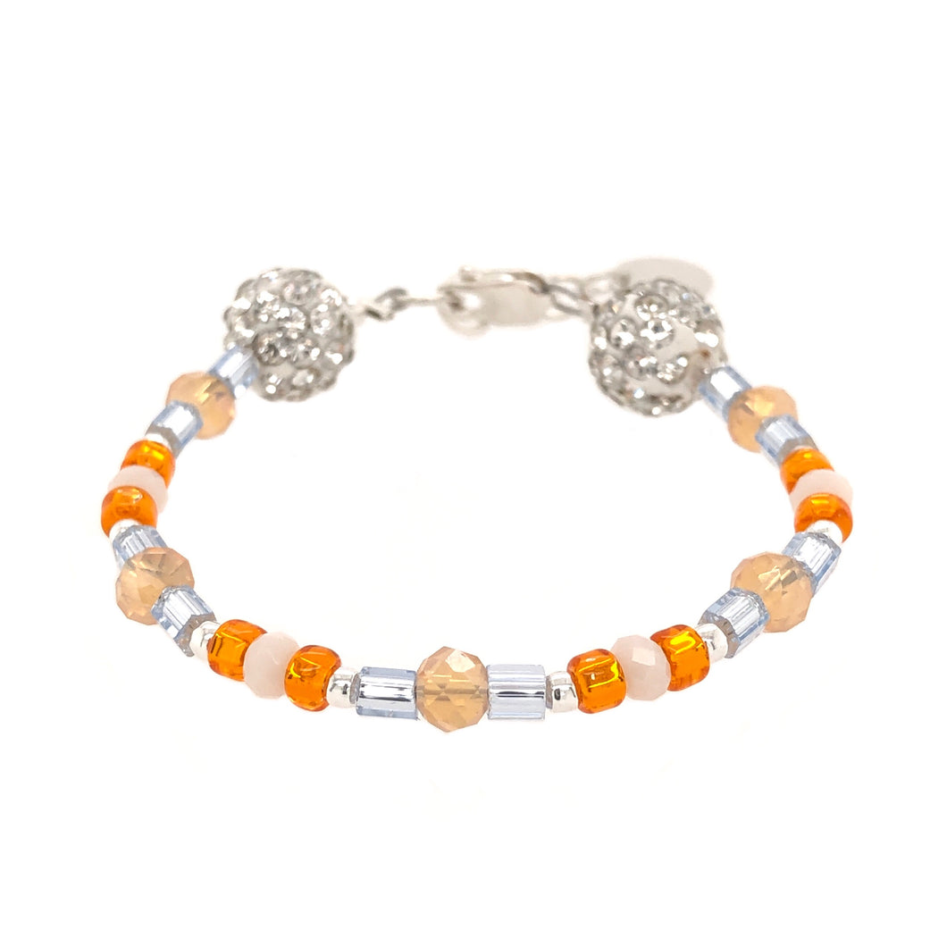 Orange Pop Crystal Seed Bracelet - B.B.Balencia