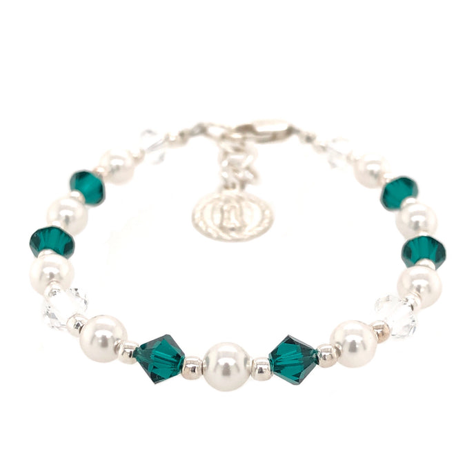 Our Lady Of Guadalupe Crystal Pearl Bracelet - B.B.Balencia