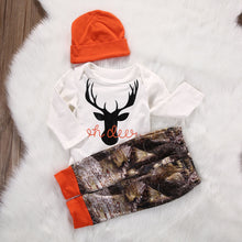 Load image into Gallery viewer, Oh Deer Long Sleeve Bodysuit & Camo Pants 3 Piece Set - B.B.Balencia