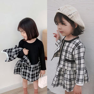 Plaid Cardigan and Skirt 2 Piece Set - B.B.Balencia