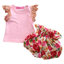 Load image into Gallery viewer, Noelanie Ruffled Sleeve Top & Floral Bubble Bloomers Set - B.B.Balencia