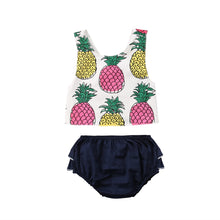 Load image into Gallery viewer, Pineapple Sleeveless Top & Ruffled Bloomers Set - B.B.Balencia