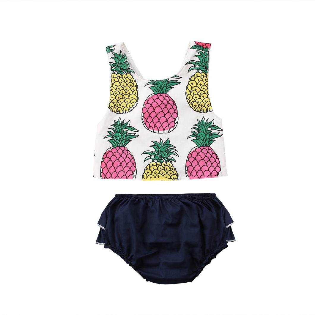 Pineapple Sleeveless Top & Ruffled Bloomers Set - B.B.Balencia