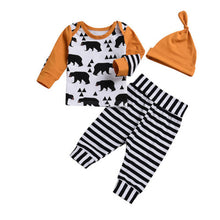 Load image into Gallery viewer, Long Sleeve Bear Print Top Striped Bottom & Hat 3 Piece Set - B.B.Balencia