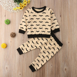 Mustache Long Sleeve Top & Pants 2 Piece Set - B.B.Balencia