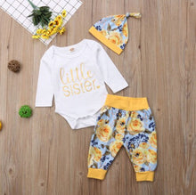 Load image into Gallery viewer, Little Sister Bodysuit & Floral Pants 3 Piece Set - B.B.Balencia