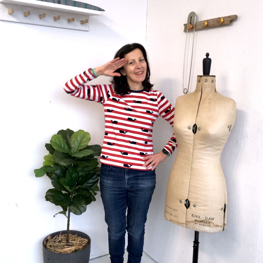 Nautical Stripes Velvet Whales Lark Tee by Grainline Studio