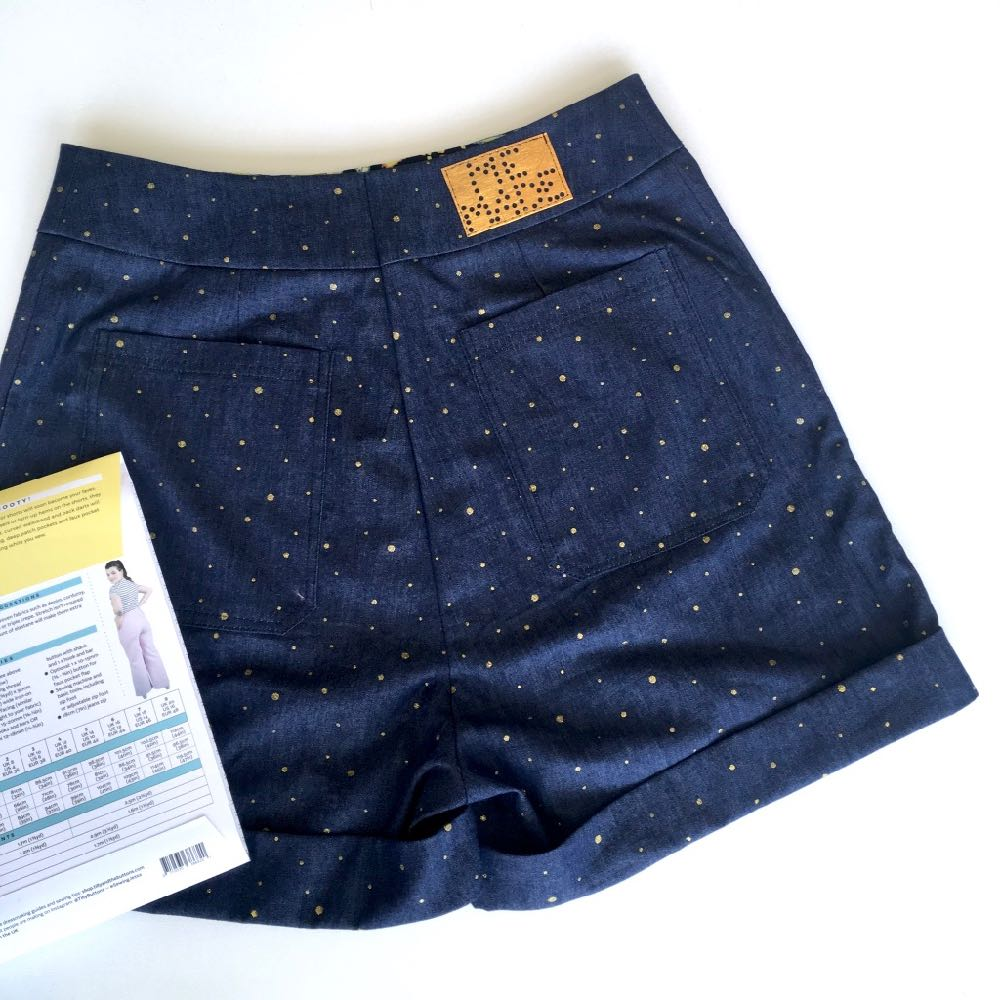 Tilly and the Buttons Jessa Shorts in Gold Dots Denim Chambray