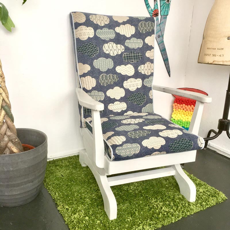 Upcycled Rocking Chair With Cloud Canvas Fabric