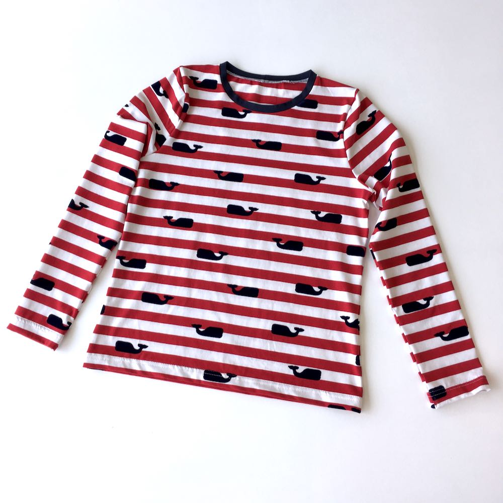Sewing Grainline Studio Lark Tee in Nautical Red Stripes with velvet Whales