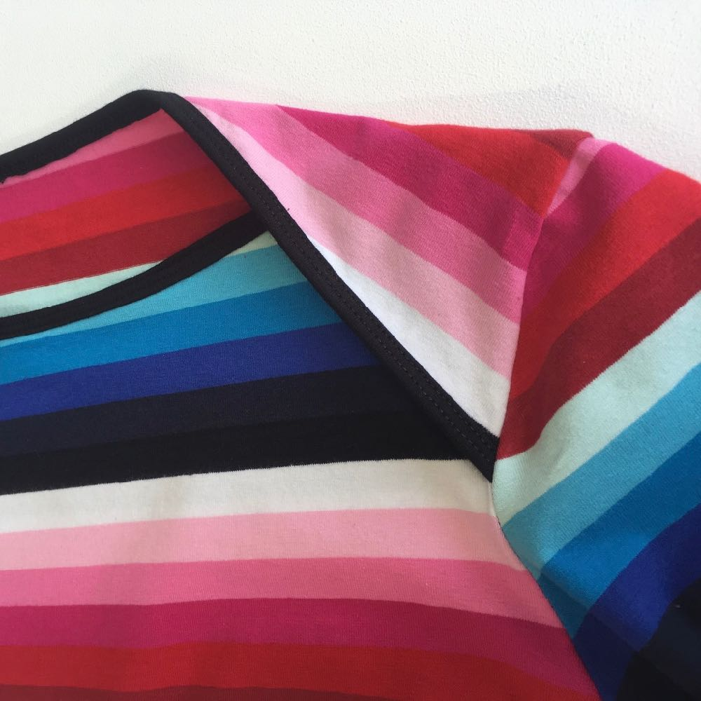 Tilly and the Buttons Romy top in Candy Rainbow Stripes Jersey