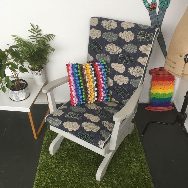 Upcycled Rocking Chair With Japanese Cloud Canvas Fabric