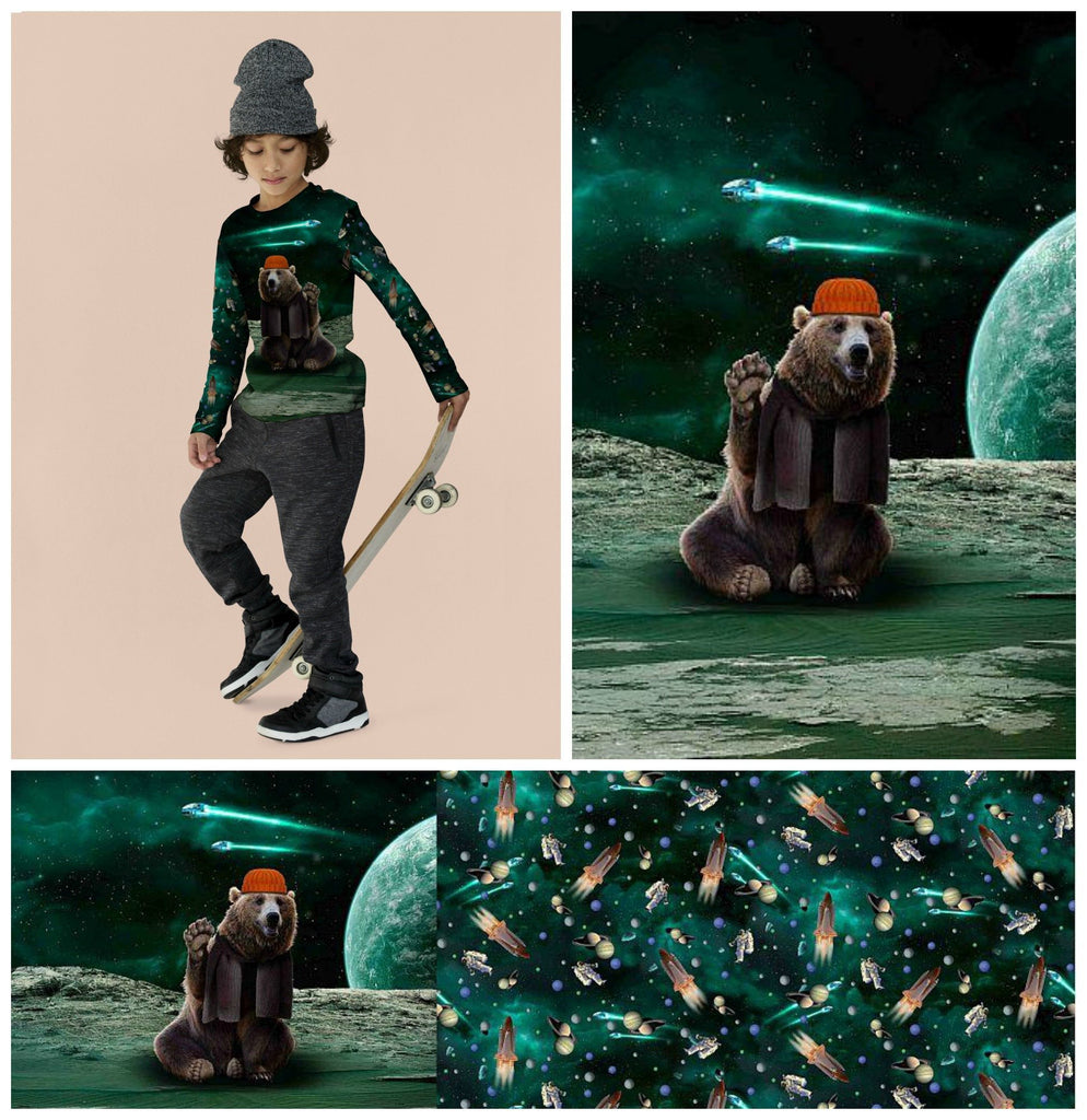 Bear In Space Jersey Panel Fabric by Various