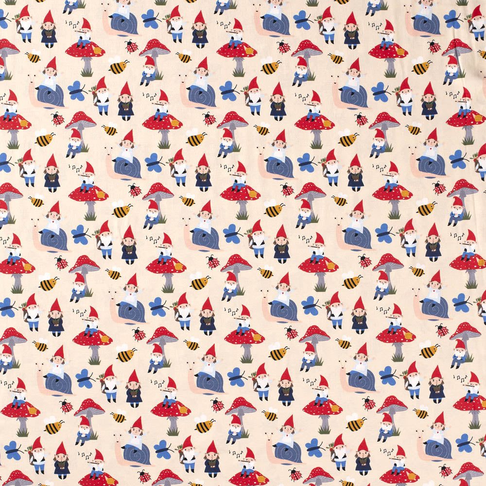 Garden Gnoming Around Cream Jersey Print - Frumble Fabrics