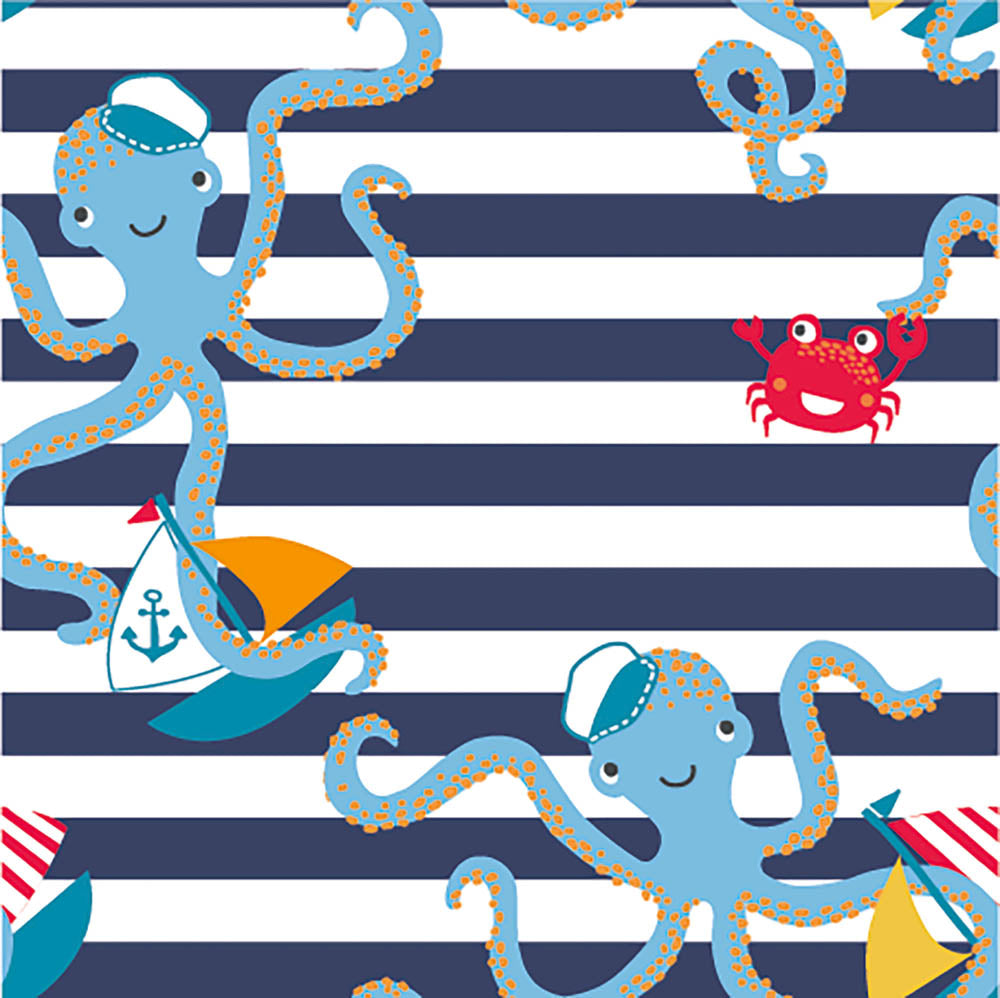 Captain Octopus Stripes Wildlife Navy Printed French Terry - Frumble Fabrics