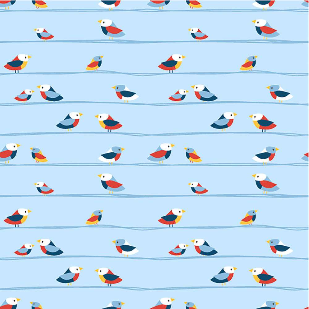 Birds On A Wire Wildlife Blue Jersey Print - Frumble Fabrics