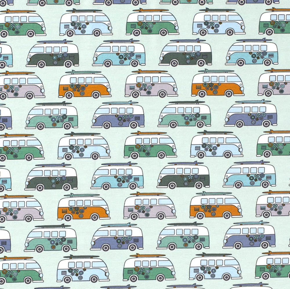 Peace Campervan Buses Mint Jersey Print - Frumble Fabrics