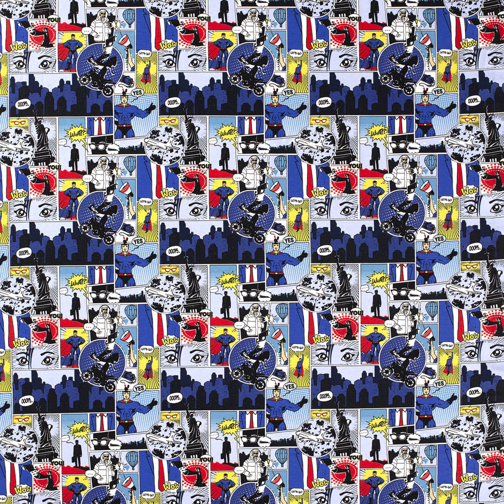 Superhero Cartoon Blue Jersey Print - Frumble Fabrics