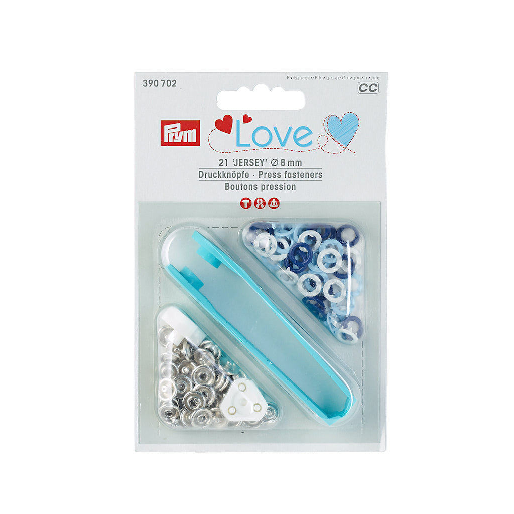 Prym Love Jersey Press Fasteners 21 pack Blues - 8mm - Frumble Fabrics