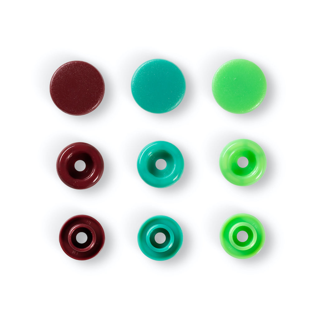 Prym Love Colour Snap Fastener 12.4mm - Green/Lt Green/Brown