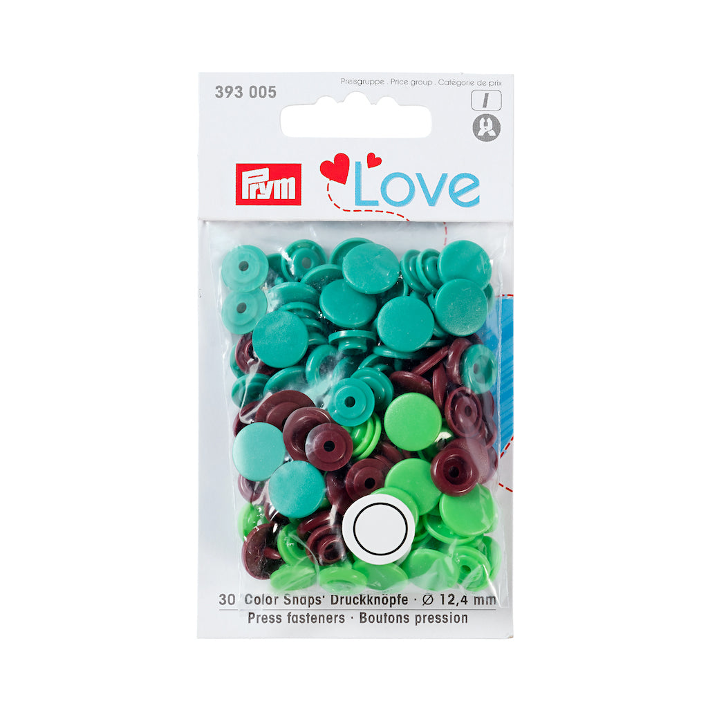 Prym Love Colour Snap Fastener 12.4mm - Green/Lt Green/Brown - Frumble Fabrics