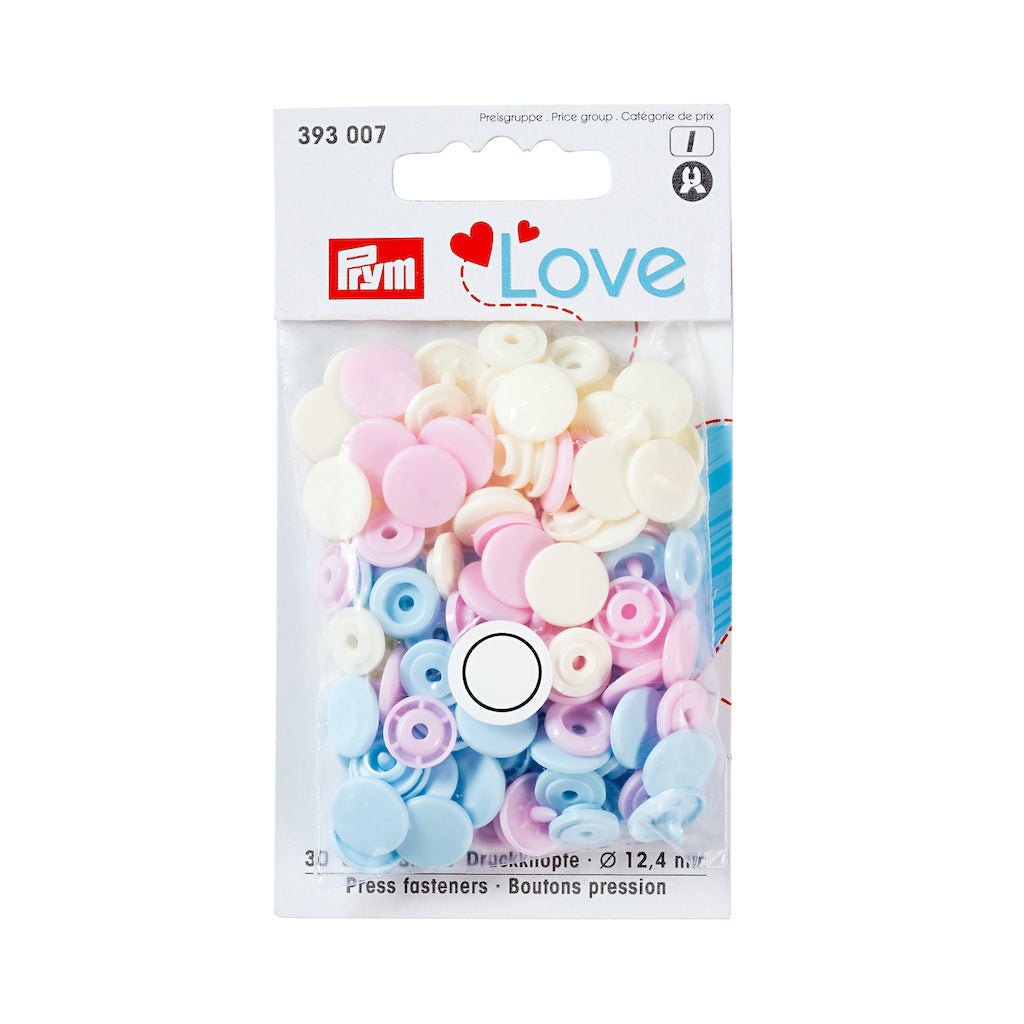 Prym Love Colour Snap Fastener 12.4mm - Rose/Lt Blue/Pearl - Frumble Fabrics