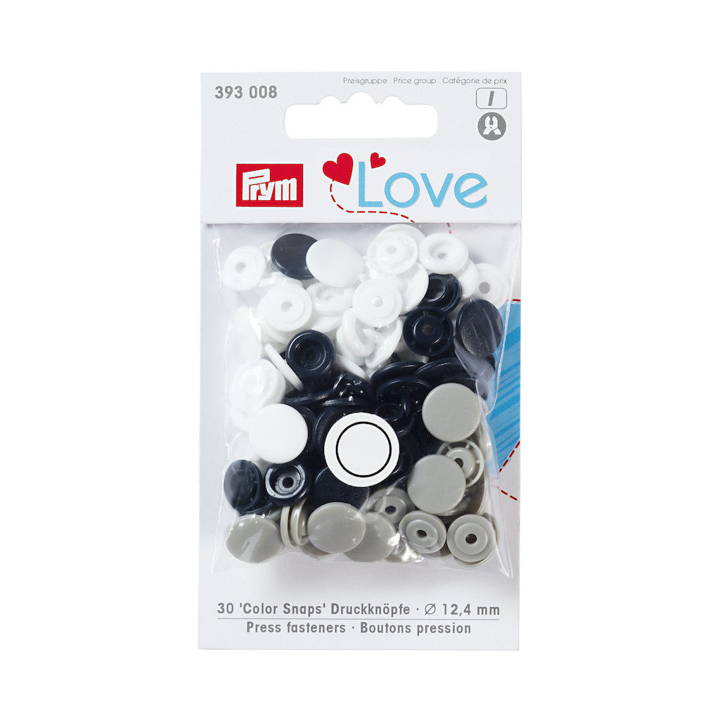 Prym Love Colour Snap Fastener 12.4mm - Blue/Grey/White - Frumble Fabrics