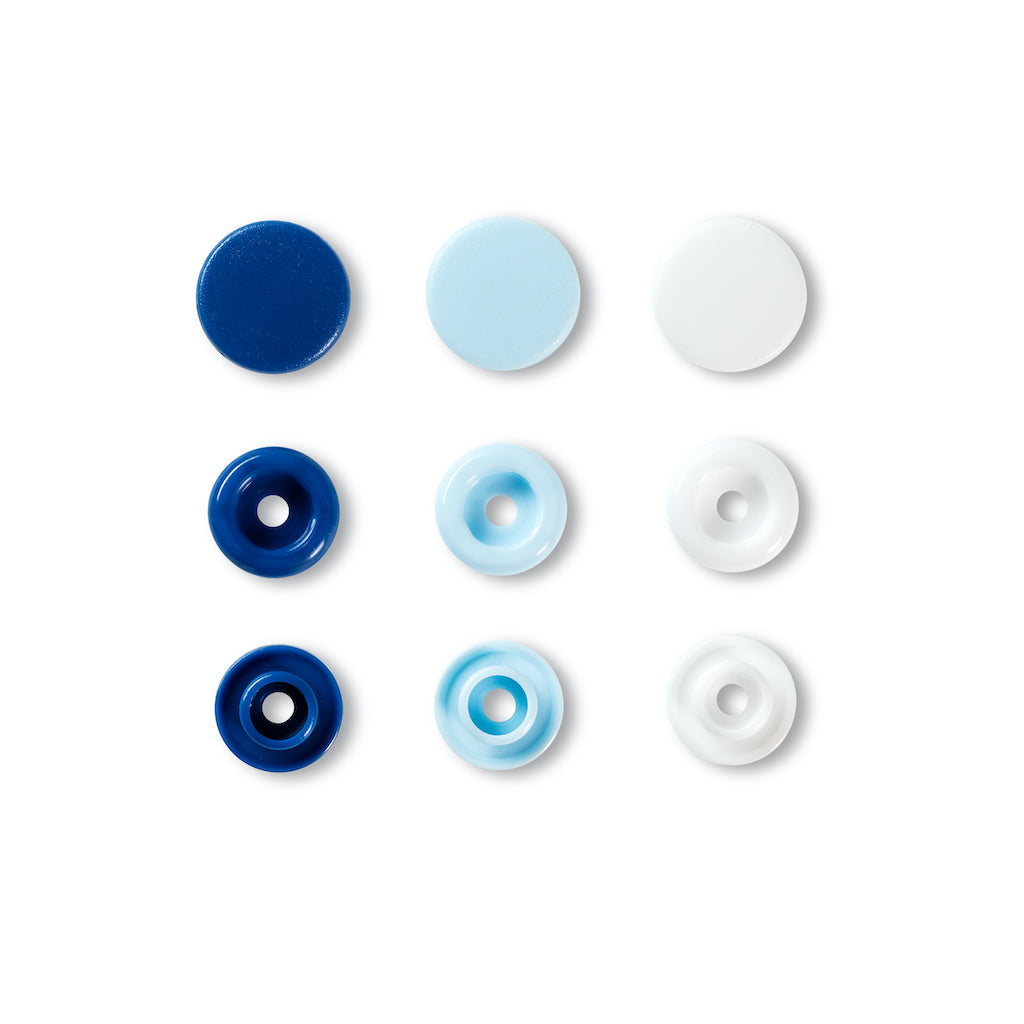 Prym Love Colour Snap Fastener 12.4mm - Blue/White/Lt Blue - Frumble Fabrics