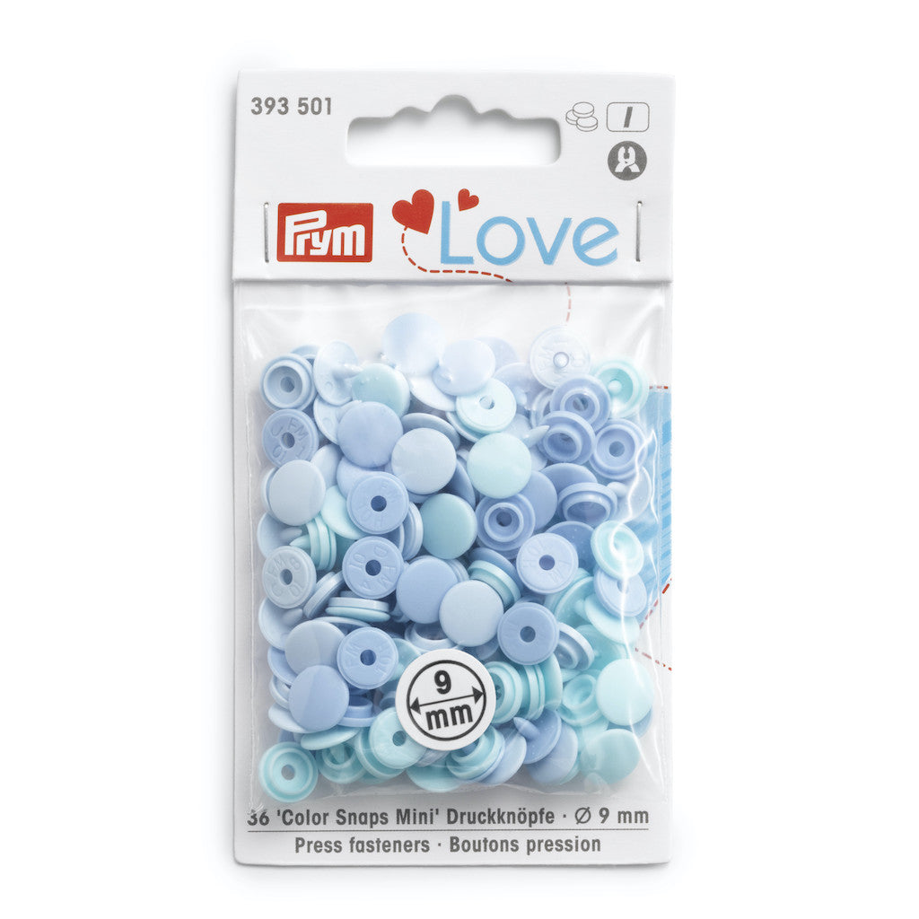 Prym Love Colour Snap Fasteners 9mm - Light Blues - Frumble Fabrics