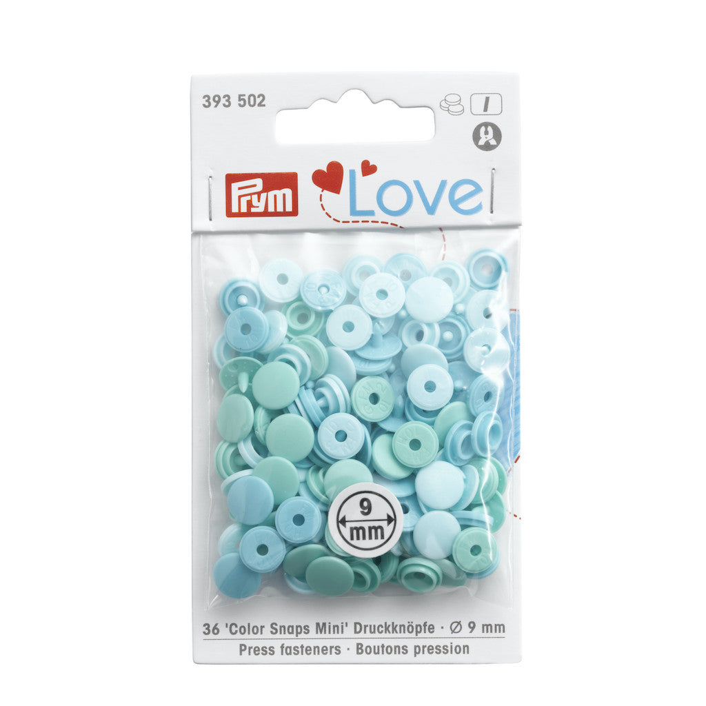 Prym Love Colour Snap Fasteners 9mm - Pale Teals - Frumble Fabrics