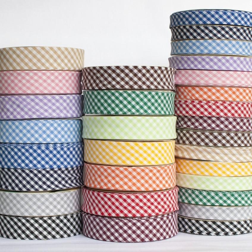 18mm Woven Gingham Bias Binding All