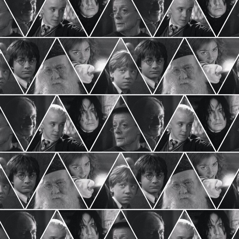 Harry Potter Character Triangles Grey Fabric by Camelot
