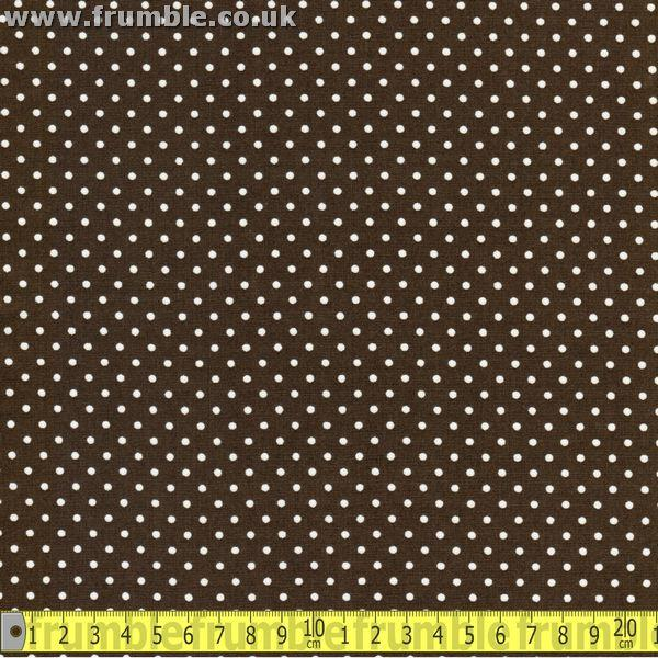 Mini 3mm Polka Dot Dark Chocolate Brown (Per Metre) - Frumble Fabrics