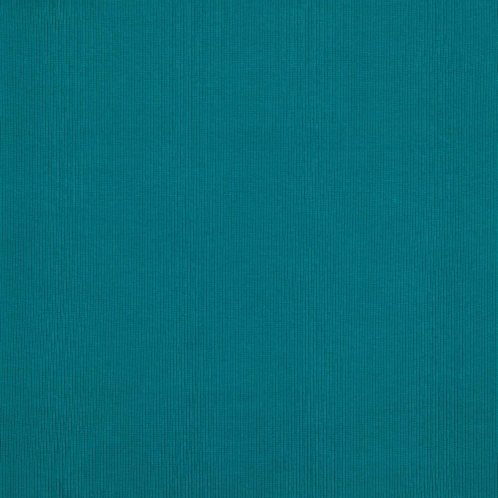 2x2 Medium Organic Ribbing - Plain GOTS Tube - Petrol Teal Sewing and Dressmaking Fabric
