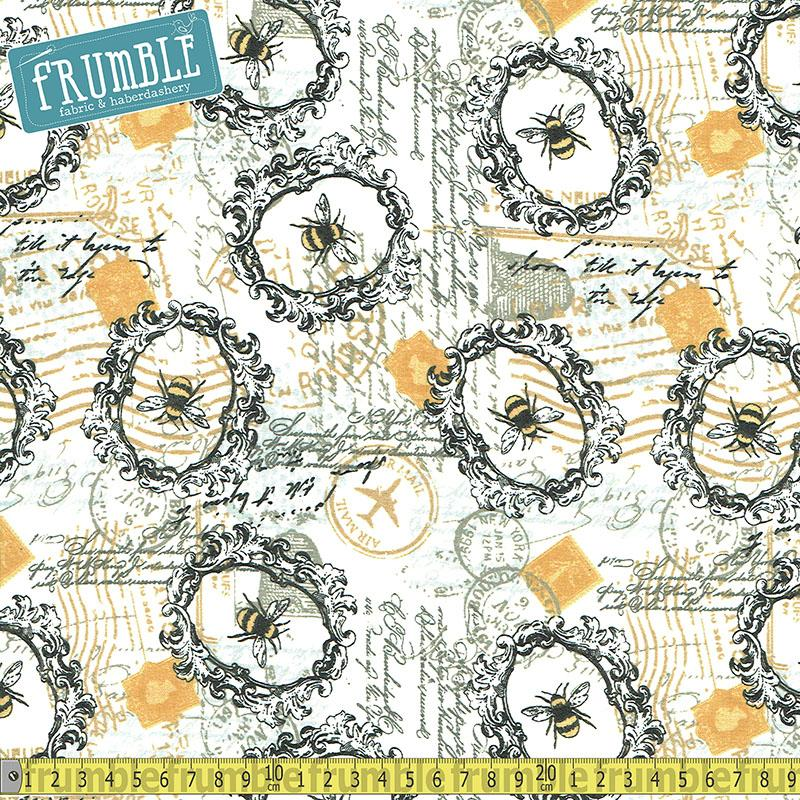 Bee Happy Collage White Fabric by 3 Wishes
