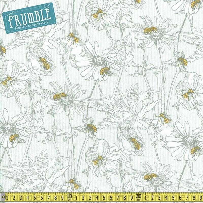 Bee Happy Sketched Floral White Fabric by 3 Wishes