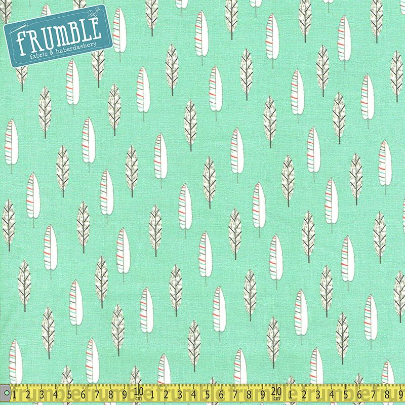 Little Ones Feathers Green - Frumble Fabrics
