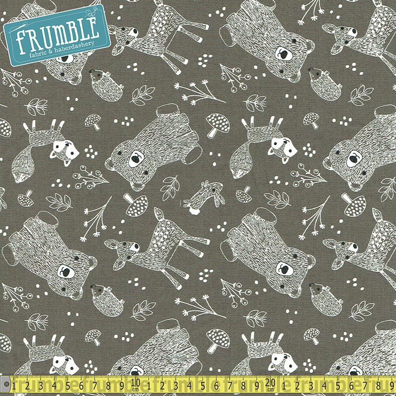 Little Ones Tossed Animals Charcoal Fabric by 3 Wishes