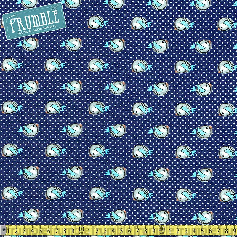 Purrfect Pals Birds On Dots Navy Fabric by 3 Wishes