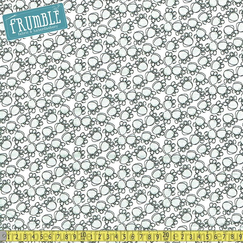 Purrfect Pals Paw Prints White Fabric by 3 Wishes