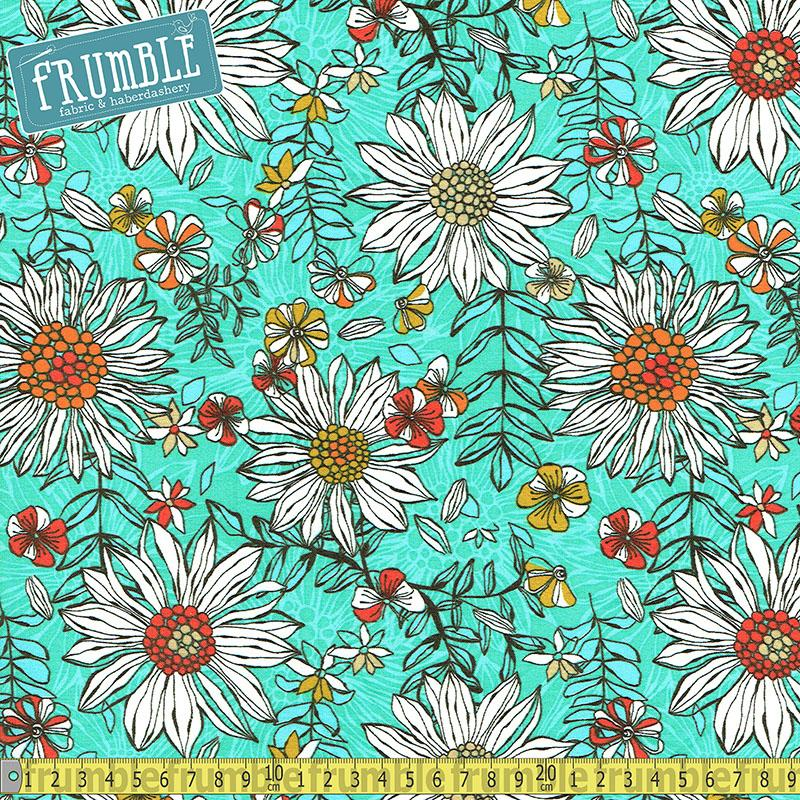 Summer Skies Daisies Turquoise Fabric by 3 Wishes