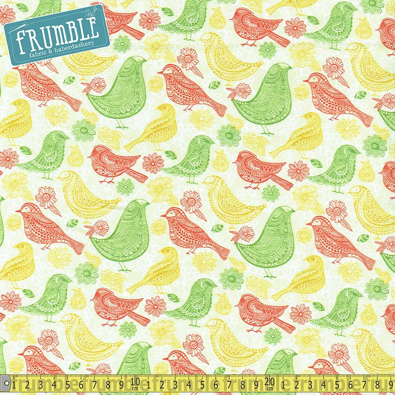 Summer Skies Retro Birds Cream - Frumble Fabrics
