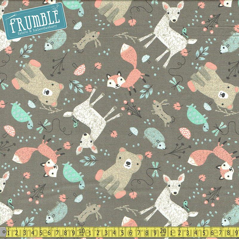 Little Ones Tossed Animals Multi/Grey Fabric by 3 Wishes