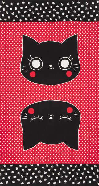 Nyan Cat Made Panel Red Fabric by Lecien